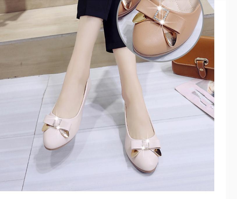 2020 Primavera e Outono com New cabeça redonda estilo de moda Slope calcanhar bowknot sapatos femininos @ MQWBH804