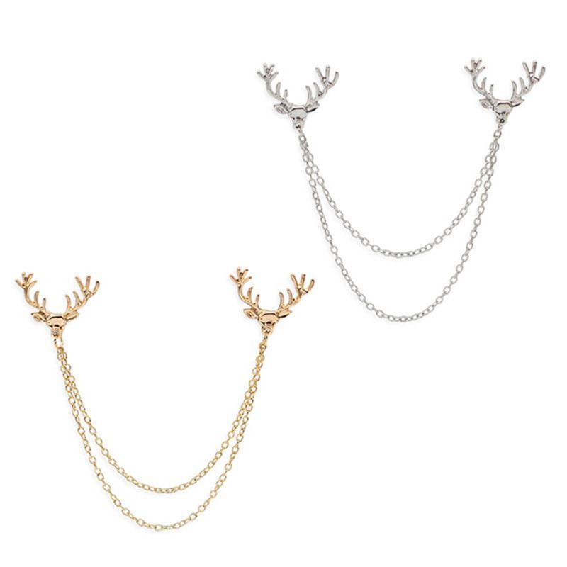 12pcs / Lot Unisex Deer Head Broche Elk Antler cadeia de borla emblema do Pin Brasão Neutro Camisa Suit Collar Needle festa de jóias