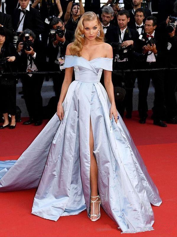 2020 celebrità del tappeto Rosso Off Charme Abiti spalla laterale Split del manicotto della protezione delle donne da sera Azzurro abiti di sera convenzionali