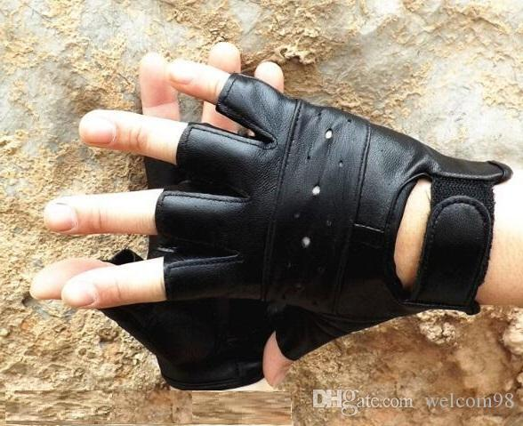 5pcs/lot Mix Styles Fashion Black Real Leather Fingerless Gloves For Dancing Motorcycle Driving Sports GL01 Free Shipping