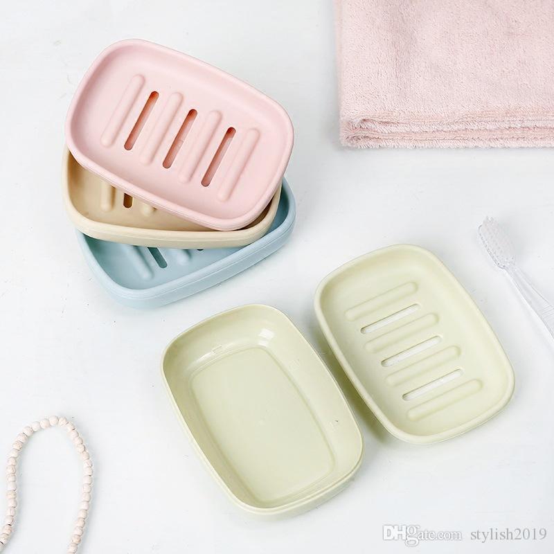 Sıcak yeni Plastik Sabunluk Banyo Yaratıcı Çift boşaltma sabunluk Kaymaz sabun kutusu WCW688