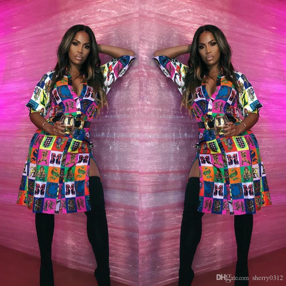 HISIMPLE 2019 Mode Nouveauté Robe Femmes Imprimer V Cou Printemps Chemise Robes Haute Split Sexy Robes De Festa Mode Casual chemise robe