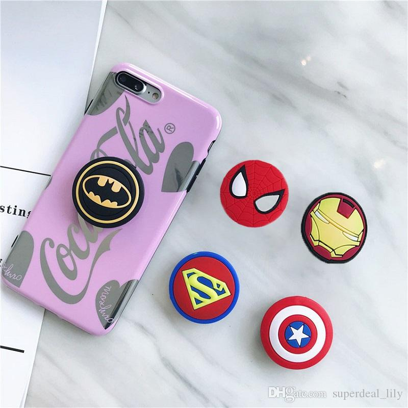 Silicone Cartoon Holders Super Hero Expanding Holder Stand Grip Clip Ring for SmartPhone Air Bag Cell Phone Bracket