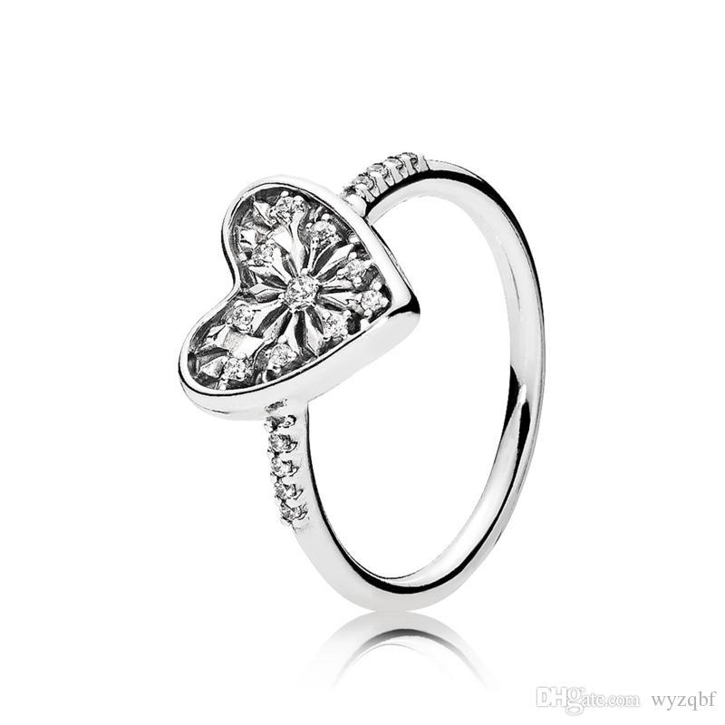 925 anillos de plata esterlina del corazón del anillo de invierno para las mujeres joyería de compromiso de boda
