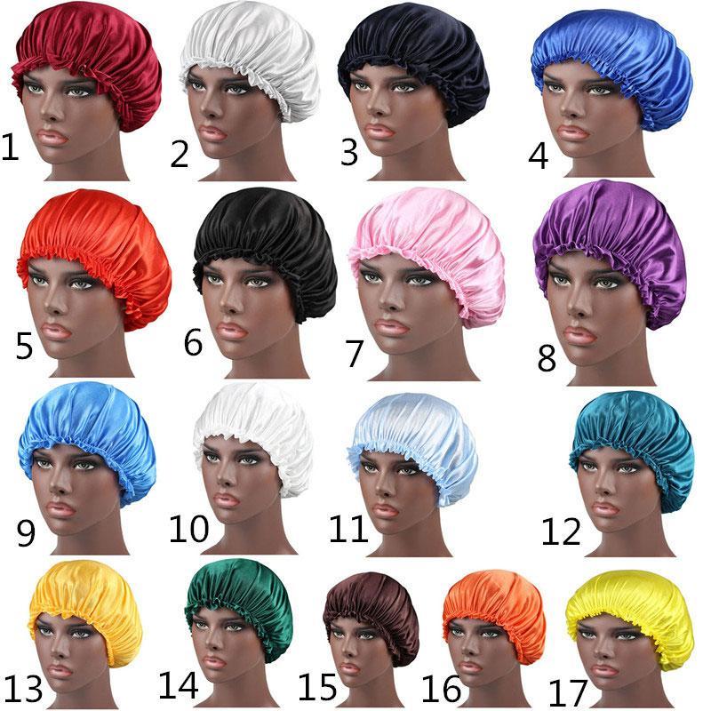 Nouvelle couleur unie en satin de soie de nuit Chapeau Femmes Head Bonnet Caps couverture sommeil Soins des cheveux Accessoires Mode