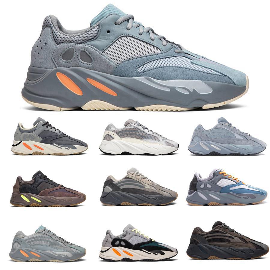 zapatilla de running corredor de la onda 700 Carbono Azul Kanye West Imán reflectante de calidad superior de los hombres de zapatillas mujeres utilidad Sal inercia zapato estilista Sólido