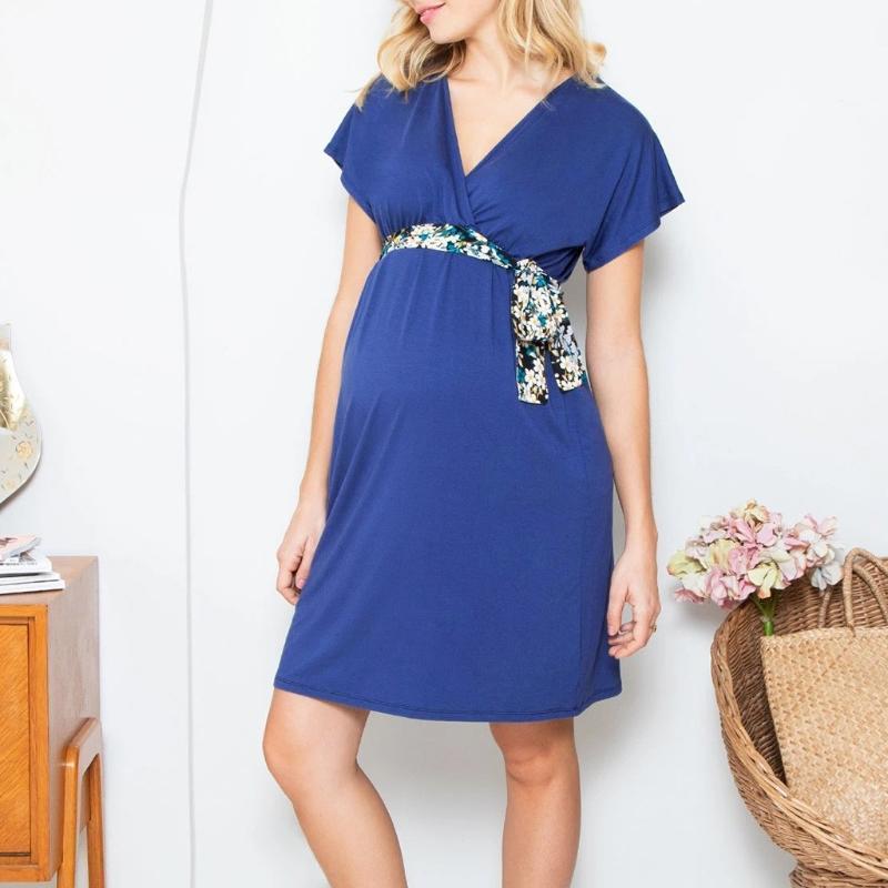 Women Pregnant Nusring Maternity Dresses Maternity Clothes Pregnancy Dress Short Sleeve Solid V-Neck Comfortable Summer Sundress