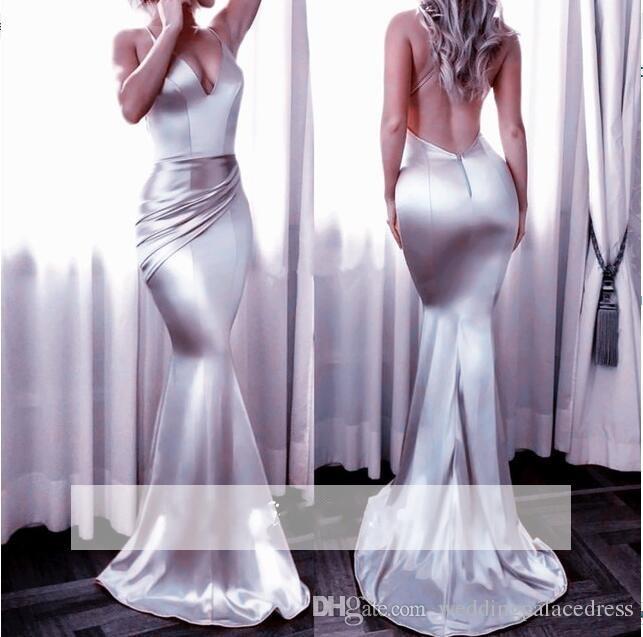 Barato simples New Design Sereia Prom Dresses V profundo Neck Backless plissados Sexy Party Dress Formal vestidos de noite vestidos de festa