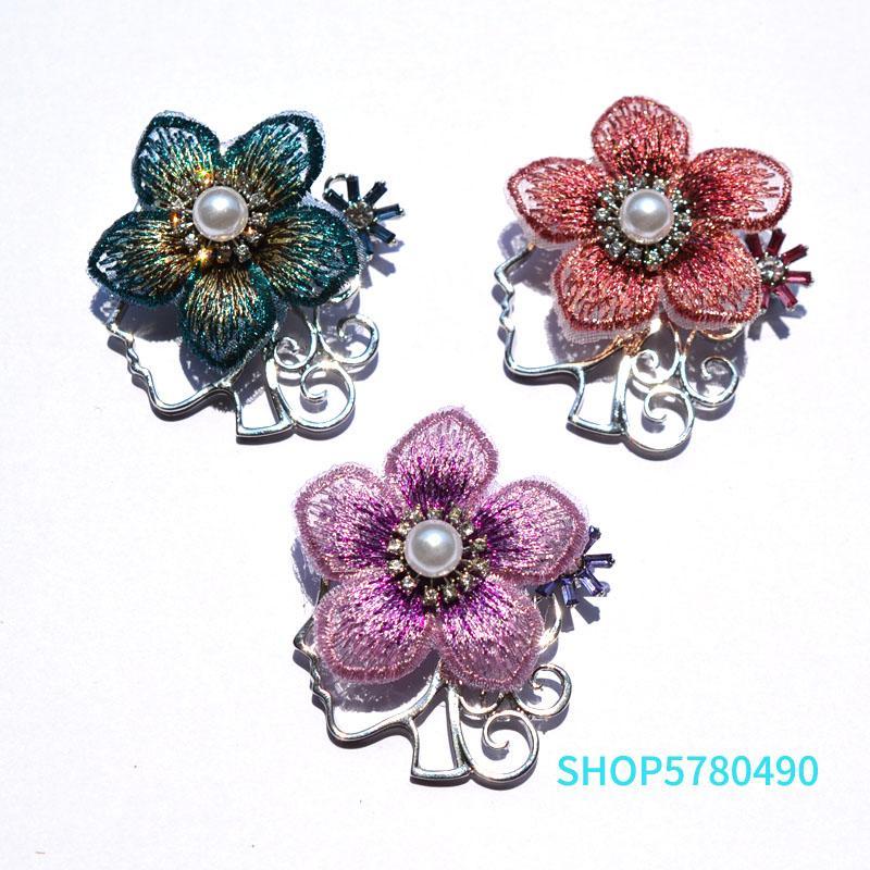 Zarif Rhinestone Broş Kadın Kumaş Çiçek İnci Pim Bayanlar Triko Konfeksiyon Gelin Broş Aksesuarları Vintage Takı için