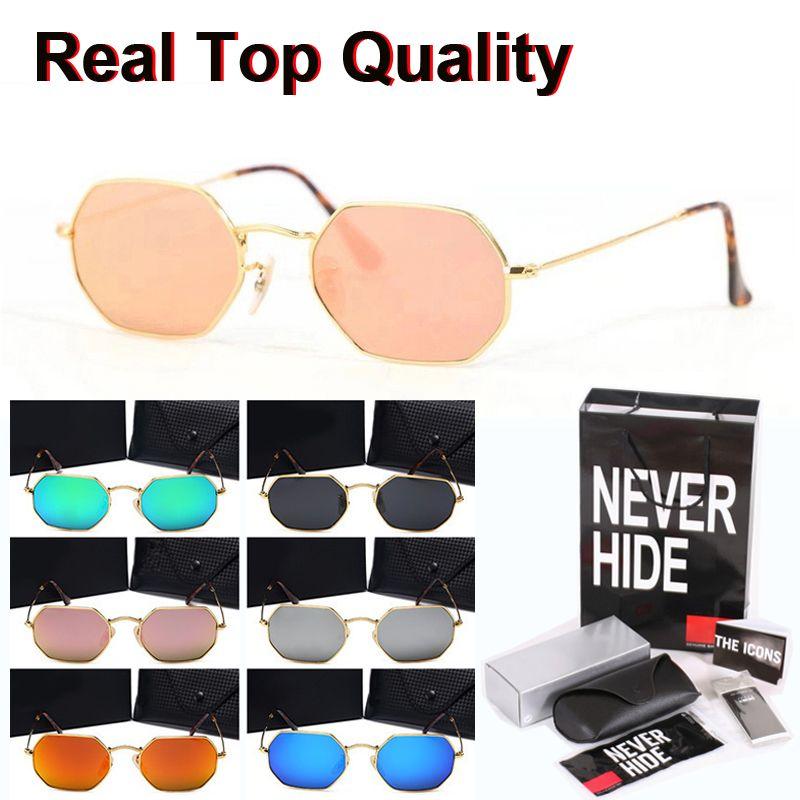 9 colores clásica octogonal gafas de sol de los hombres de las mujeres Marca espejo Diseñador lente de cristal UV400 con la caja original, paquetes, accesorios, todo!