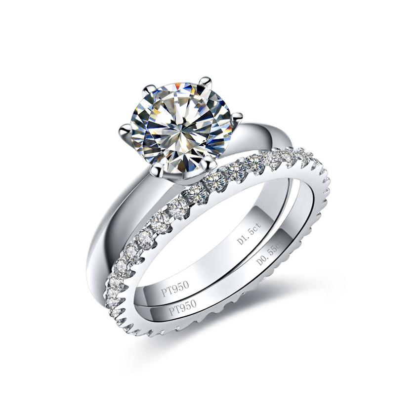 Silver & Moissanite Set Jewel 3Ct 9mm G-H Moissanite Set Rings Real 925 Sterling Silver Ring Women's Synthetic Diamont Ring