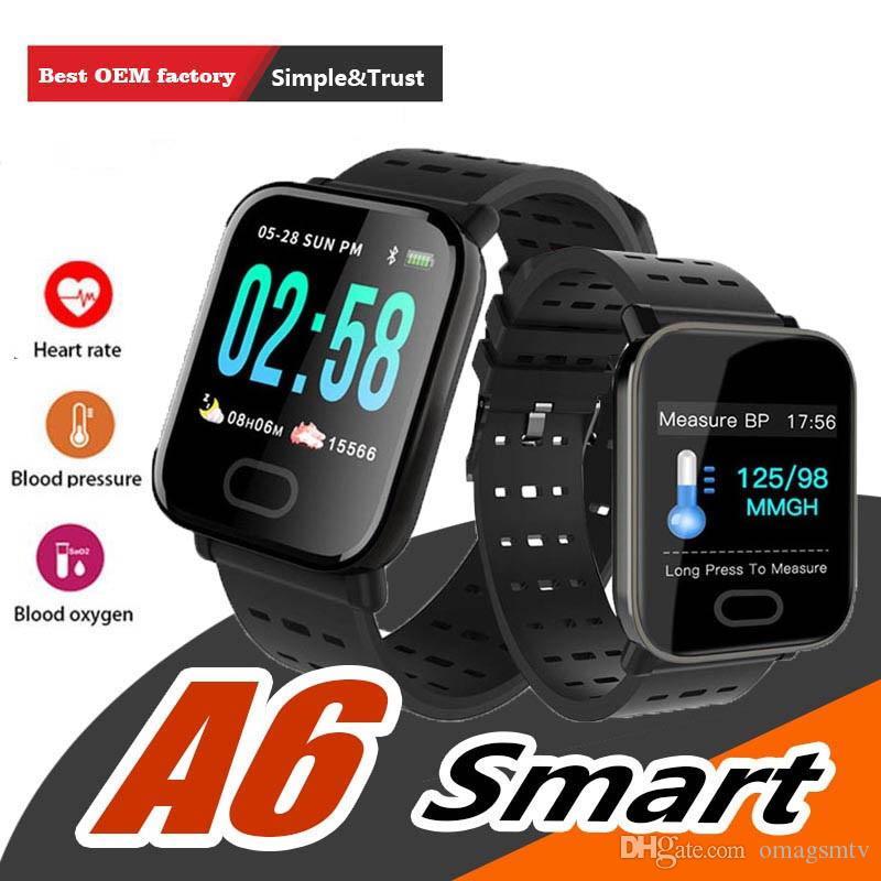 2019 الجديدة A6 الرياضية الذكية الفرقة ضغط الدم الذكية سوار رصد معدل ضربات القلب السعرات الحرارية المقتفي IP67 للماء معصمه ووتش