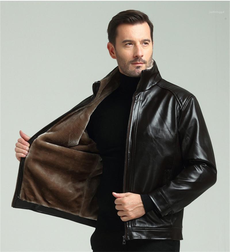 Quente Inverno Jacket Casual manga comprida Mens Casacos Mens Designer PU Leather Jacket Moda Zipper Grosso