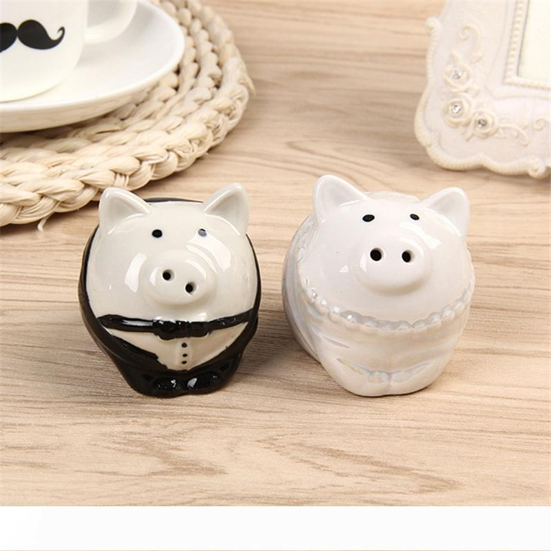A Bride Groom Lovely piggy Birds Salt and Pepper Shaker Wedding Favor Gifts for Guest Giveaway Present Romantic Wedding Door Gifts