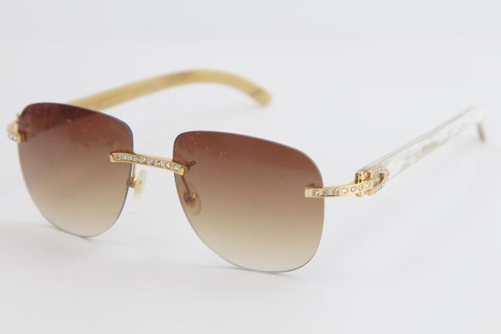 판매 무테 금속 믹스 다이아몬드 블랙 버팔로 호른 선글라스 8200860 클래식 조종사 금속 프레임 간단한 레저 안경 남성과 여성