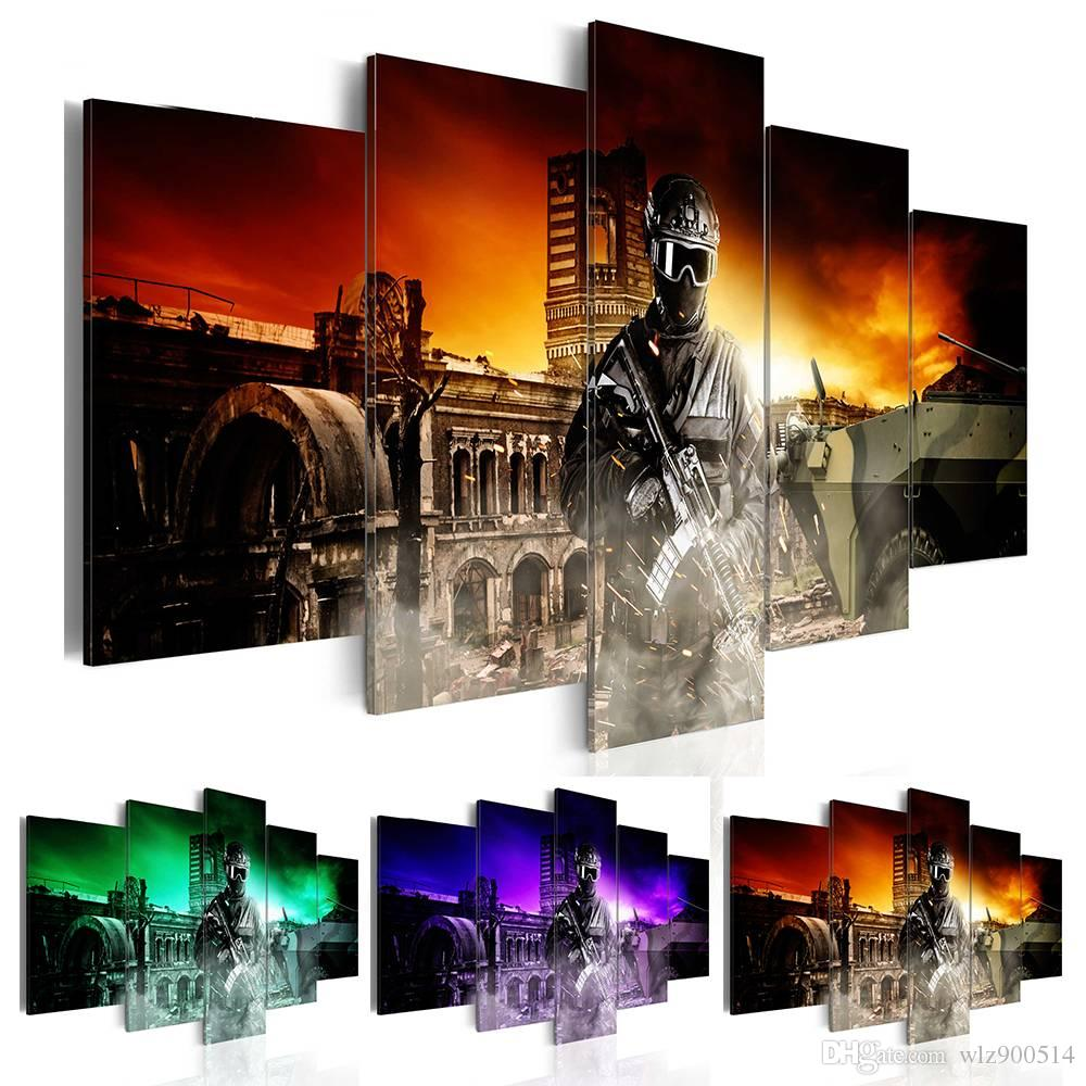 2019 Fashion Wall Art Canvas Painting 5 Pieces Cool Soldier Modern Home Decoration,Choose Color:3 And Size:3 No Frame