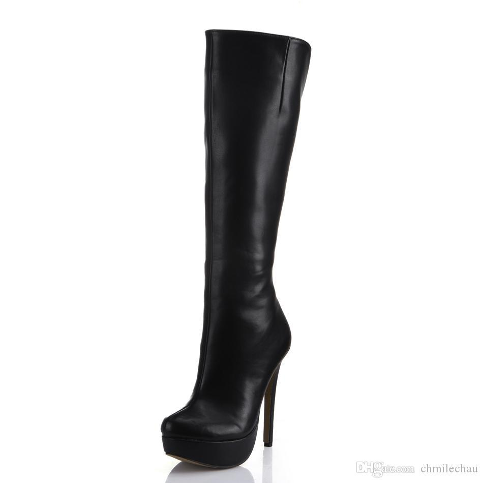 Sexy Party Stiletto High Heel Platform Women Knee-High Boots Bottes Genoux Femmes Talon Haut Aiguille Langschaft YJ3463BT
