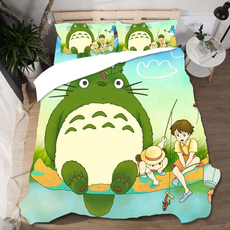 High Quality Cute Totoro Printing Bed Linen Home Textile Lovely Couple Queen King Size Printing Bedding Sets Bedding Pillowcases