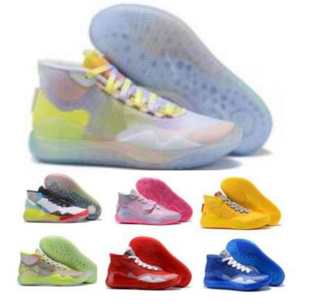Kd 12 Teyzem Erkek Basketbol Ayakkabı Kevin Durant Şeftali Jam Warriors Ev Eybl vatandaşları 12s Takım Bankası Pembe 2020 Yeni Zapatos Sneakers