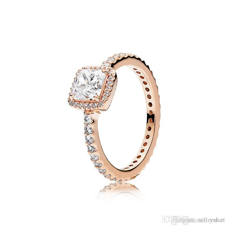 NEW 3 Colors square CZ Diamond stone Wedding RING Original for Pandora 925 silver Rose gold Yellow gold plated Rings Set for Women