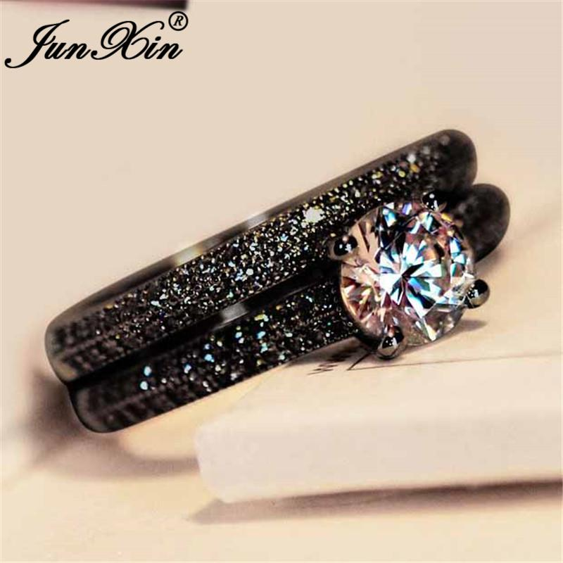 Vintage Round Crystal Stone Ring Set 925 Silver Black Yellow Rose Gold White Zircon Couple Wedding Engagement Rings For Women Cz