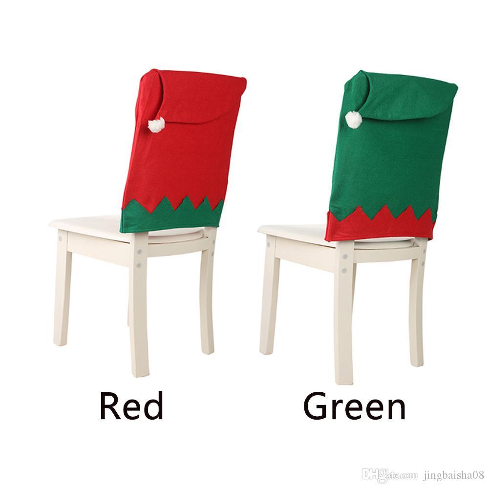 2019 Elf Hat Jantar Cozinha de Natal Household suave Slipcover não-tecidos assento de tecido Hotel decorativa Voltar Sala Chair Cove