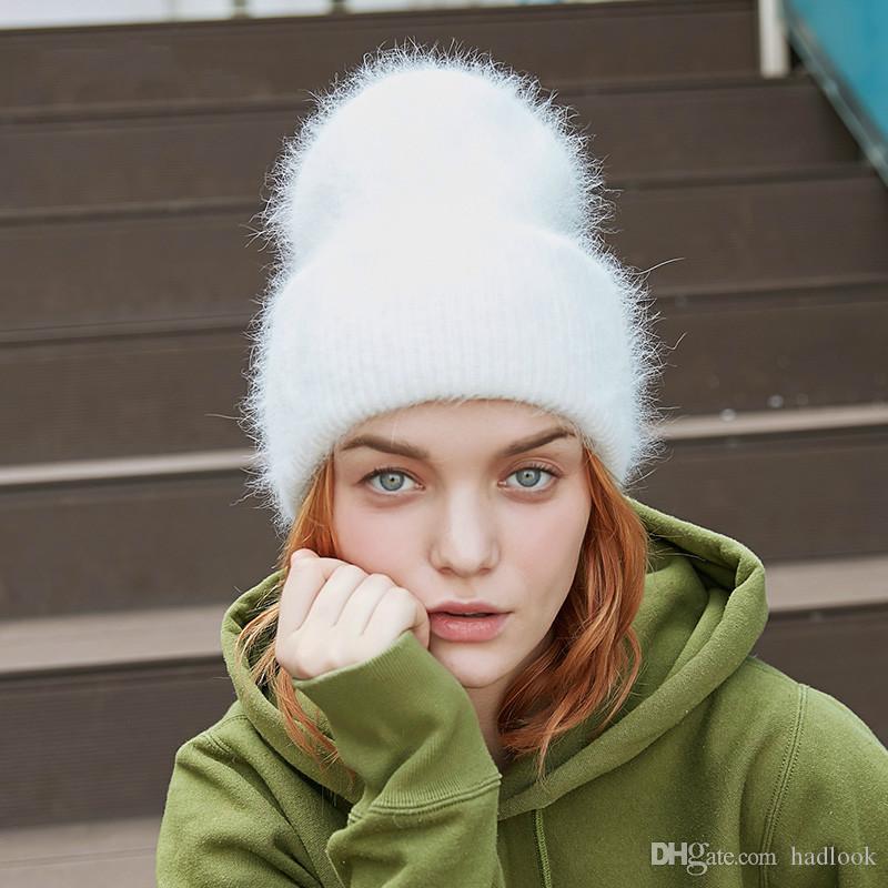 Mujeres Sombreros de invierno alta calidad caliente Gorros largo de piel de conejo Mujer casquillos de la manera de los colores sólidos manguito ancho joven Estilo Gorros