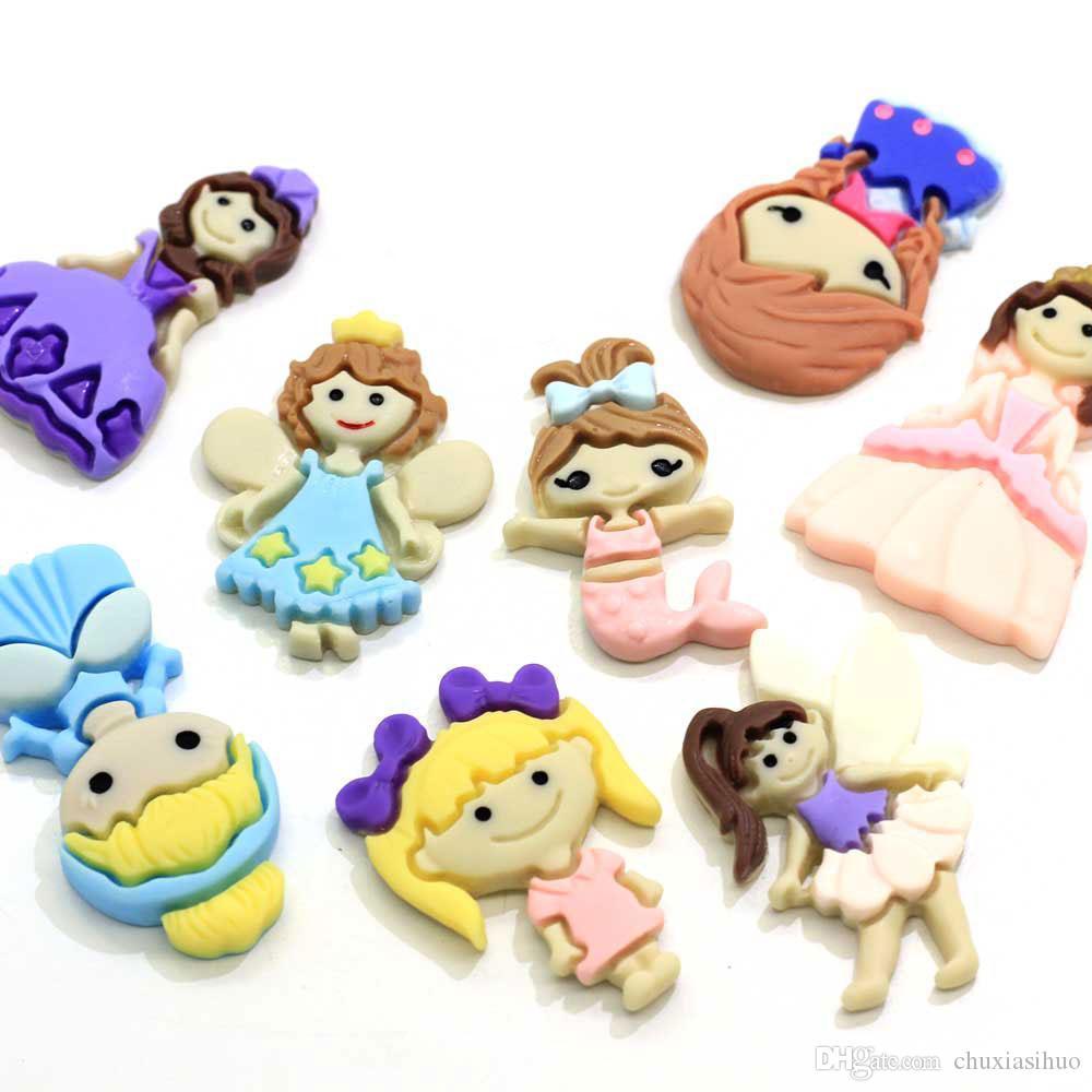 Vari di Cartoon Principessa resina Charm Cabochon Flatback Ragazze Appliques Crafting Forniture fai da te archi dei capelli