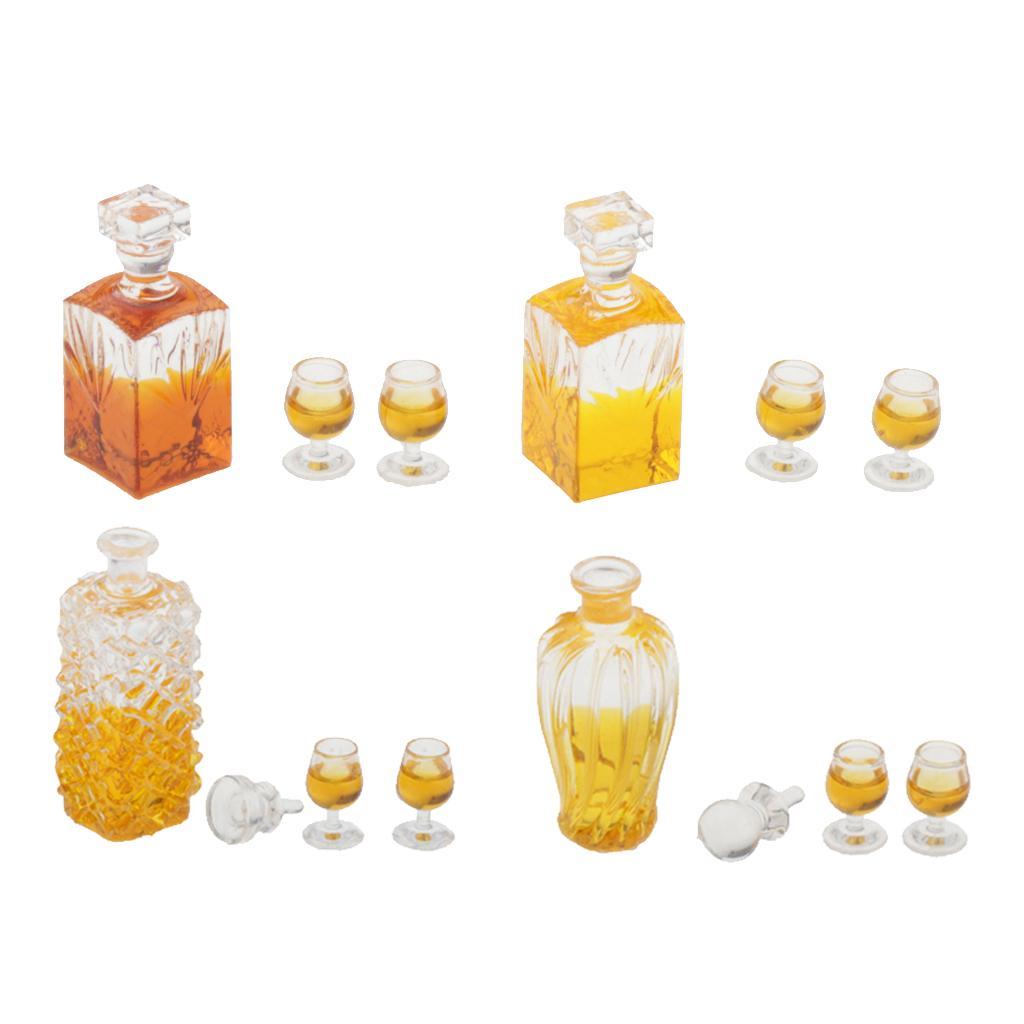 01:12 Maison de poupée miniature whisky Bouteilles de vin et tasses Pub Bar modèle Drink