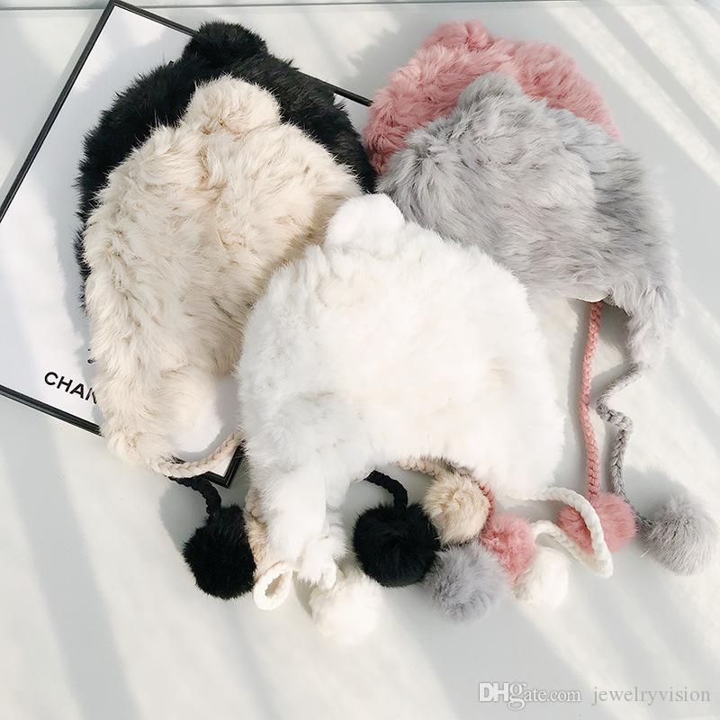 New Winter Women's Rabbit Fur Hat Beanies Cap Lady Knitted Fur Hat Caps Wool Ball Earmuffs Warm Casual Hats M211