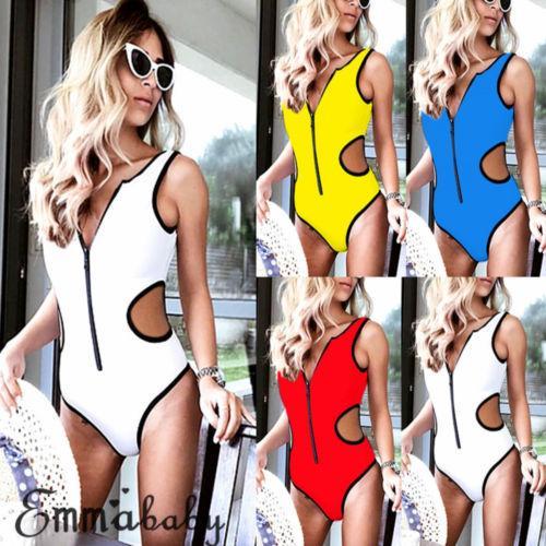 2018 Nova cintura alta Zipper One Piece Swimwear Mulheres Sexy Monokini Swimsuit Sólidos terno verão Senhora de banho Costume Praia