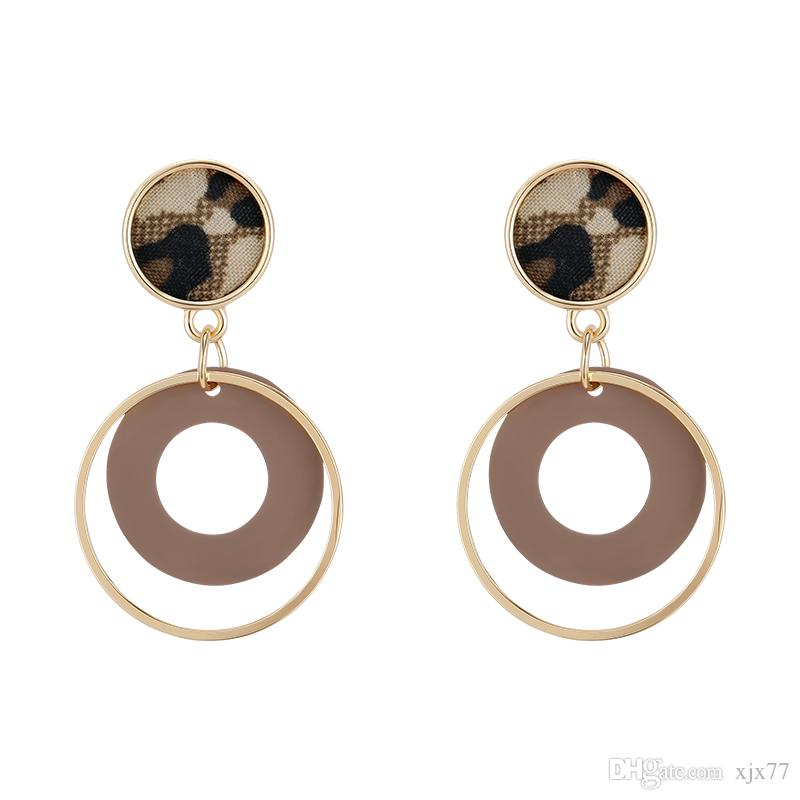 South Korea's sweet Simple Bottom Geometry Hollow-out Stitching Coloured Earrings Female Personality Fashion Leopard Patterns Earrings