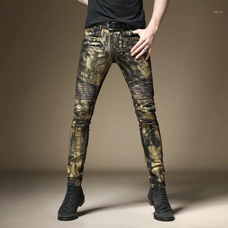 Livraison gratuite nouveau jeans hip européenne des hommes de sexe masculin de la mode Slim américain hop main mince pantalon en cuivre punk rock peint de trousers1