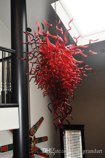 CE UL 붕규산 무라노 유리 데일 치 훌리 (Dale Chihuly) 예술 광택 다크 레드 무라노 샹들리에 현대 풍선 100 % 입