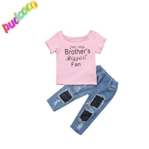 2018 New Kids Baby Girls Coton T Shirt Tops + Malha Calças Jeans 2 Pcs Roupas Definir Roupas Quentes