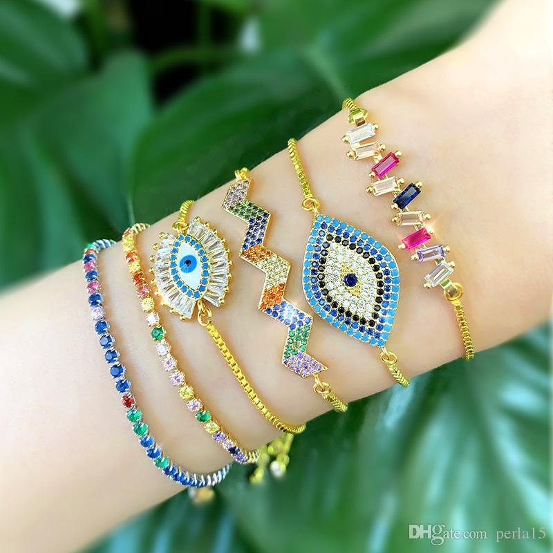 Romantic Cute Gold over Cubic Zirconia Bracelets rainbow Colorful CZ Adjustable Bracelet for Women chain bangle jewelry DS78