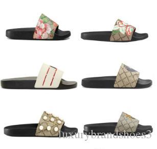 Doğru Çiçek Kutusu Toz Torbası Ayakkabı yılan baskı Slayt Yaz Geniş Düz Sandalet Terlik ile Tasarımcı Erkekler Kadınlar Sandalet