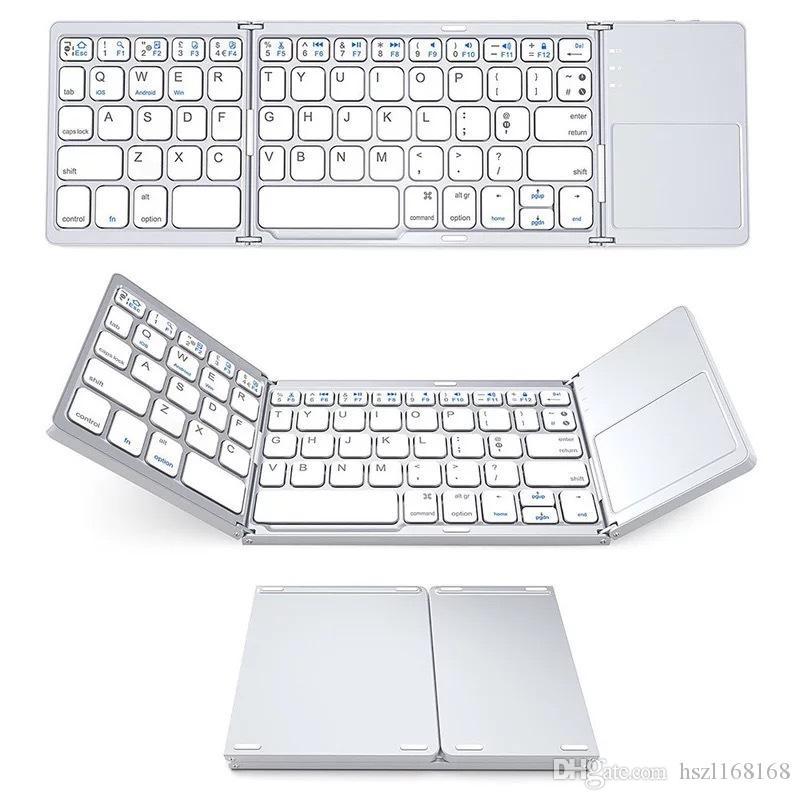 venta caliente B033 Mini Teclado Bluetooth plegable plegable del teclado inalámbrico con touchpad para IOS de Windows Tablet Android teléfonos inteligentes