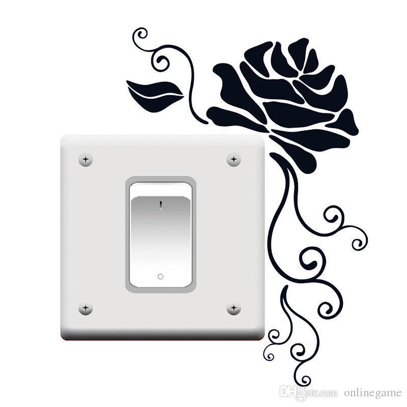 DIY Art Light Switch Removable Rose Flower Wall Sticker Home Vinyl Decal Decor