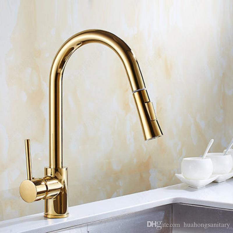 Brushed Nickel Kitchen Sink Mixer Pull Out/&Swivel Faucet Single Handle Brass Tap