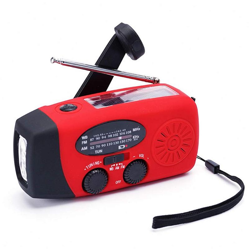 Emergency Solar Hand Crank Dynamo AM/FM/NOAA Weather Radio LED Flashlight Charge Charger 3 in 1 Outdoor Gear