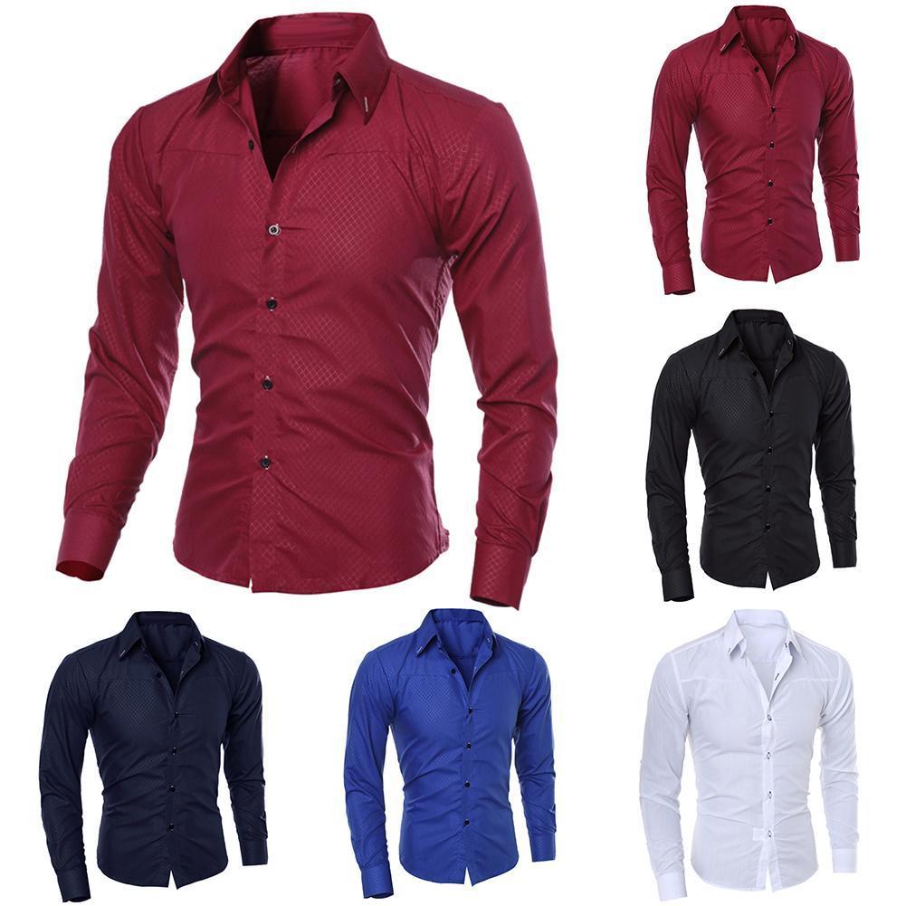 2019 nouvelle chemise mince chemise à manches longues pur col de couleur hommes de mode vente chaude moulants chemise classique pour les hommes à la mode cl