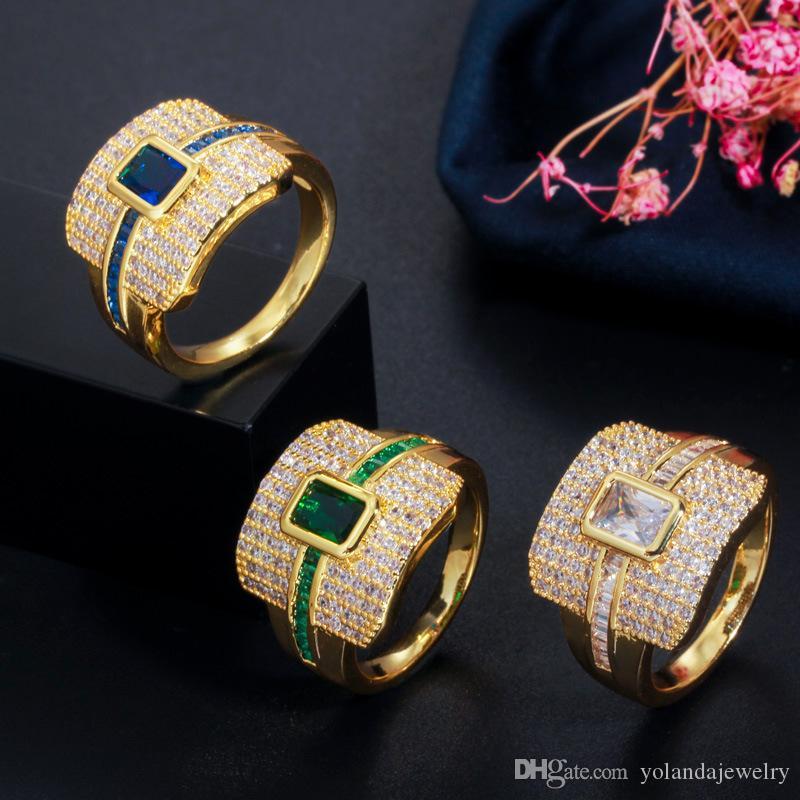 Les nouveaux hommes femmes Bague plaqué or jaune blanc pleine CZ anneaux pour les filles pour femmes fête de fiançailles de mariage belle bague cadeau