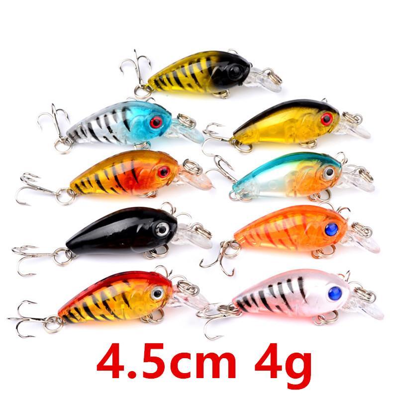 9 colori 4.5cm 4g Crank duri esche di plastica esche da pesca Ganci 10 # Hook Pesca Pesca Tackle Accessori WL-3