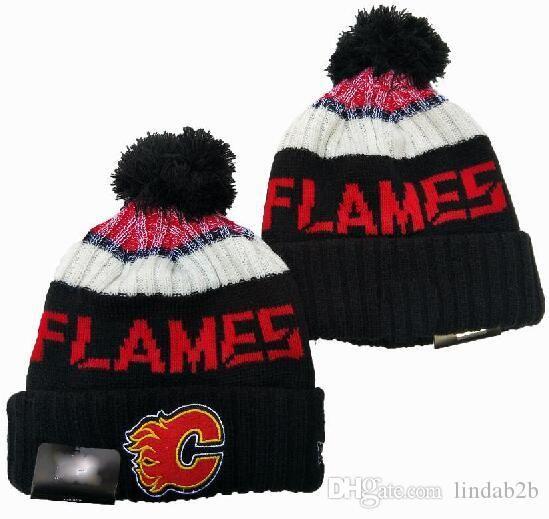 2020 Calgary Flames Beanie Pom Femmes Hommes Sport Bonnet Tout l'équipe adulte laine tricotée Calotte 1000 + 06