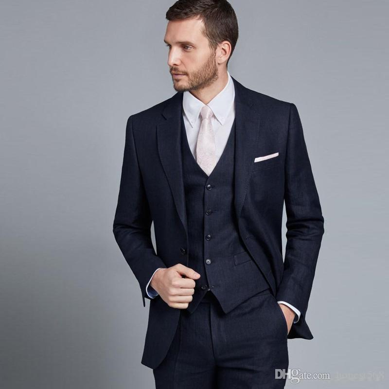 Yakışıklı Iki Düğme Groomsmen Çentik Yaka Damat Smokin Erkek Takım Elbise Düğün / Balo / Akşam Yemeği İyi Adam Blazer (Ceket + Pantolon + Kravat + Yelek) 660