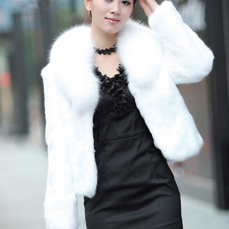 Şık Kısa Sahte Kürk Kadınlar Kalınlaşmak Sıcak Kış Kürk Ceket Kadın Uzun Kollu Yaka Kıllı Palto 3XL Q1600 Turn Down