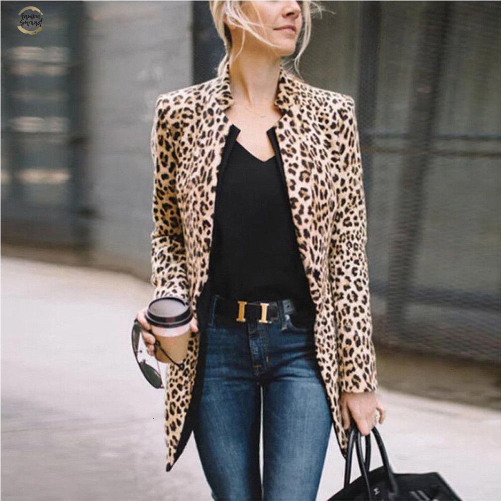 Tops leopardo de las mujeres de la vendimia Imprimir Blazer con muesca cuello del abrigo de manga larga Mujer Prendas de abrigo Moda Femenina Casaco