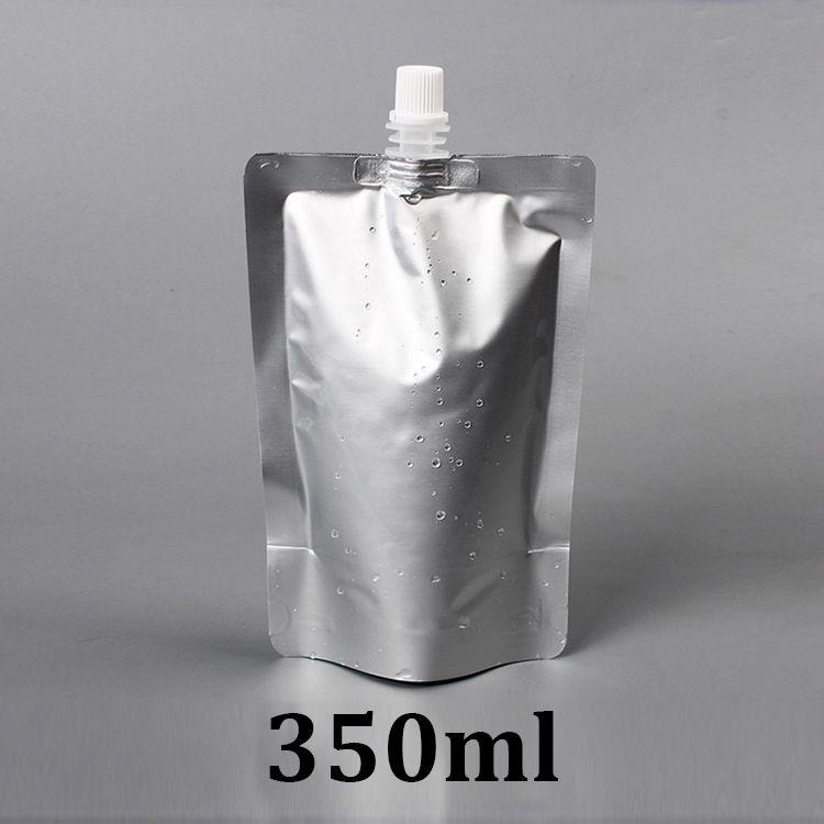 350ml silver food grade stand up aluminum foil retort spout pouch with spout