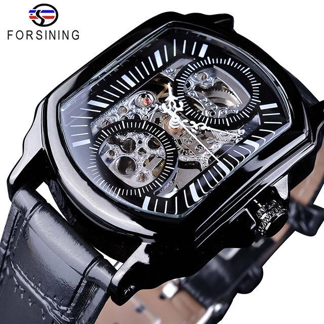 Forsining Marca de Lujo Reloj de Esqueleto Automático Regalo Relojes de pulsera de Diseñador Transparente Para Hombre Mecánico Negro Relojes SLZe118